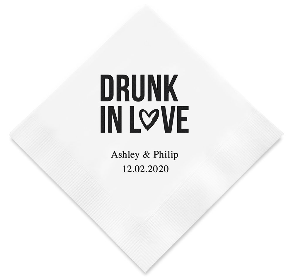 Drunk In Love Personalized Napkins | Wedding Napkins
