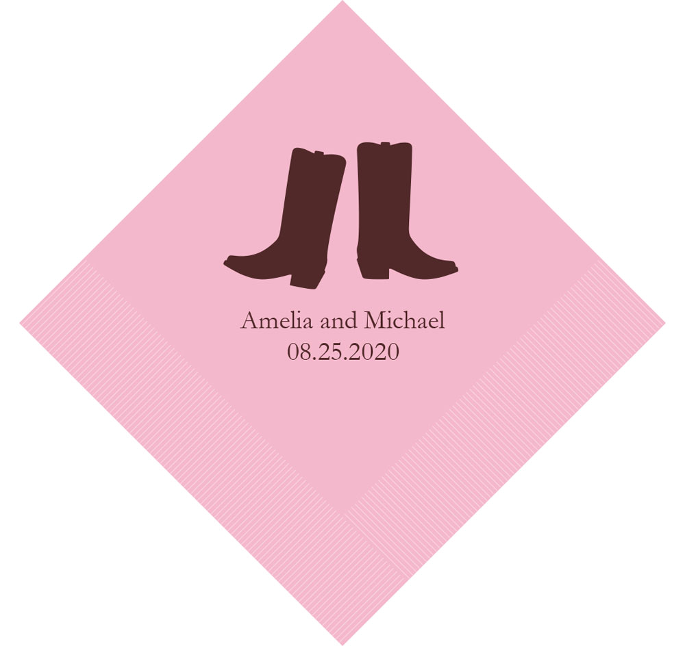 Western Boots Personalized Napkins | Wedding Napkins