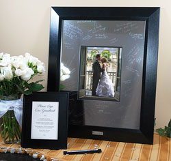 "Personalized Wedding Signature Frame with Engraved Mat (20"" x 25"") Guest Book Alternatives"