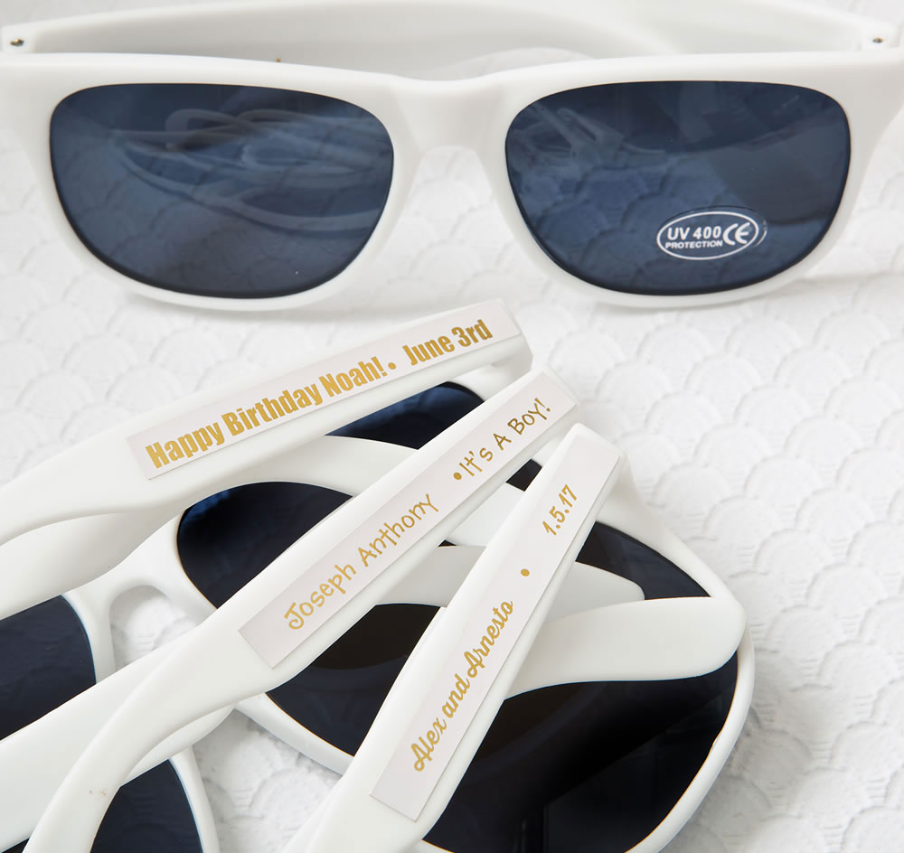 White Personalized Sunglass Favors | Personalized Sunglasses
