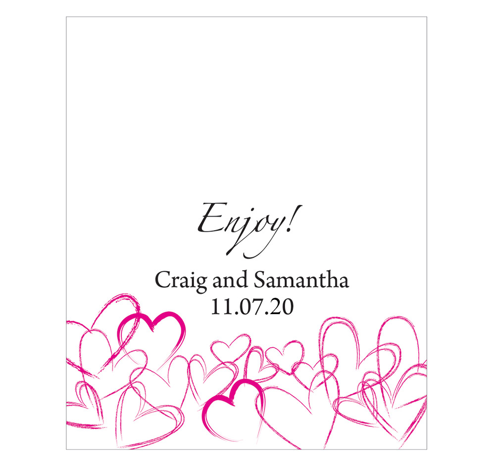 Contemporary Hearts Personalized Wedding Labels | Wedding Favor Labels