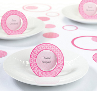Pink Circle Name Place Cards
