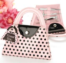Pink and Black Polka Dot Purse Five Piece Manicure Set Cute Wedding Party Gifts/ Favors