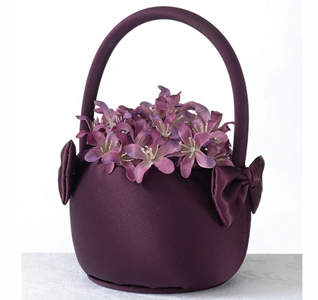 Plum Satin Wedding Flower Girl Basket