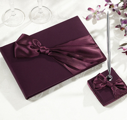 Plum Satin Wedding Guest Book & Pen