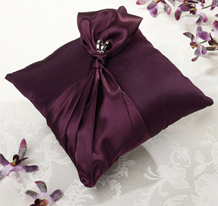 Plum Satin Wedding Ring Pillow