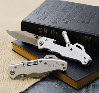 Personalized Engraved Pocket Knife with Light Gift
