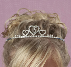 Clear Crystal/Rhinestones Quinceanera Tiara Headband (with hair combs) for Formal Updo