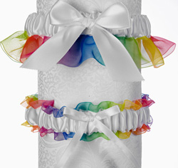 White and Rainbow Pride Wedding Garter and Tossing Garter Set