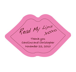 Read My Lips Personalized Wedding Favor Stickers Pink