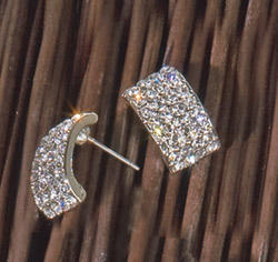 Rhinestone Clear Crystals/Rhinestones Rectangle Posts Stud Earrings