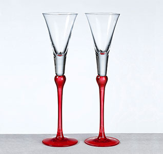 Red Set Of Tall Flutes