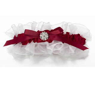Red & White Wedding Garter
