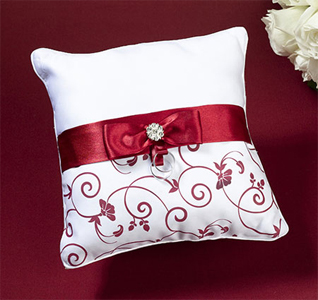Red & White Wedding Ring Pillow