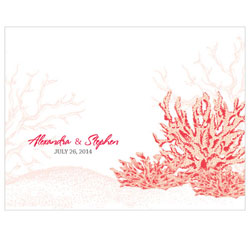 Reef Coral Personalized Weddinf Note Card in Red