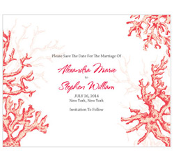 Reef Coral Personalized Wedding Invitations Save The Date Cards in Red