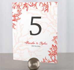 Reef Coral Personalized Wedding Table Numbers in Red