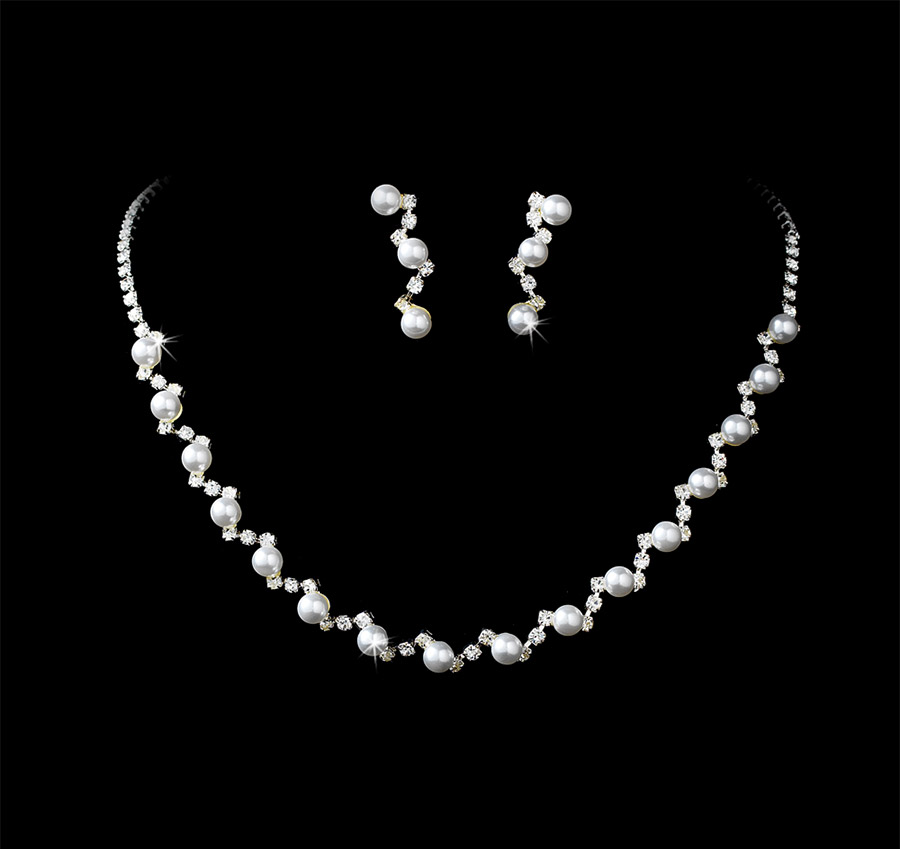 Rhinestones Pearls Bridal Necklace Earring Set