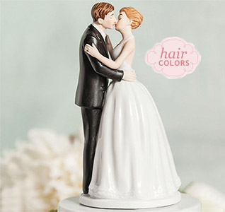 romantic kissing bride groom cake topper