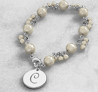 Personalized Initial Romance Pearl Bracelet Gift