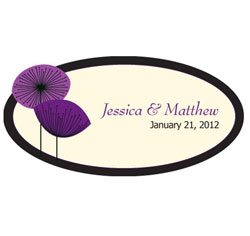 Romantic Elegance Personalized Wedding Window Cling in Plum Purple and Ivory
