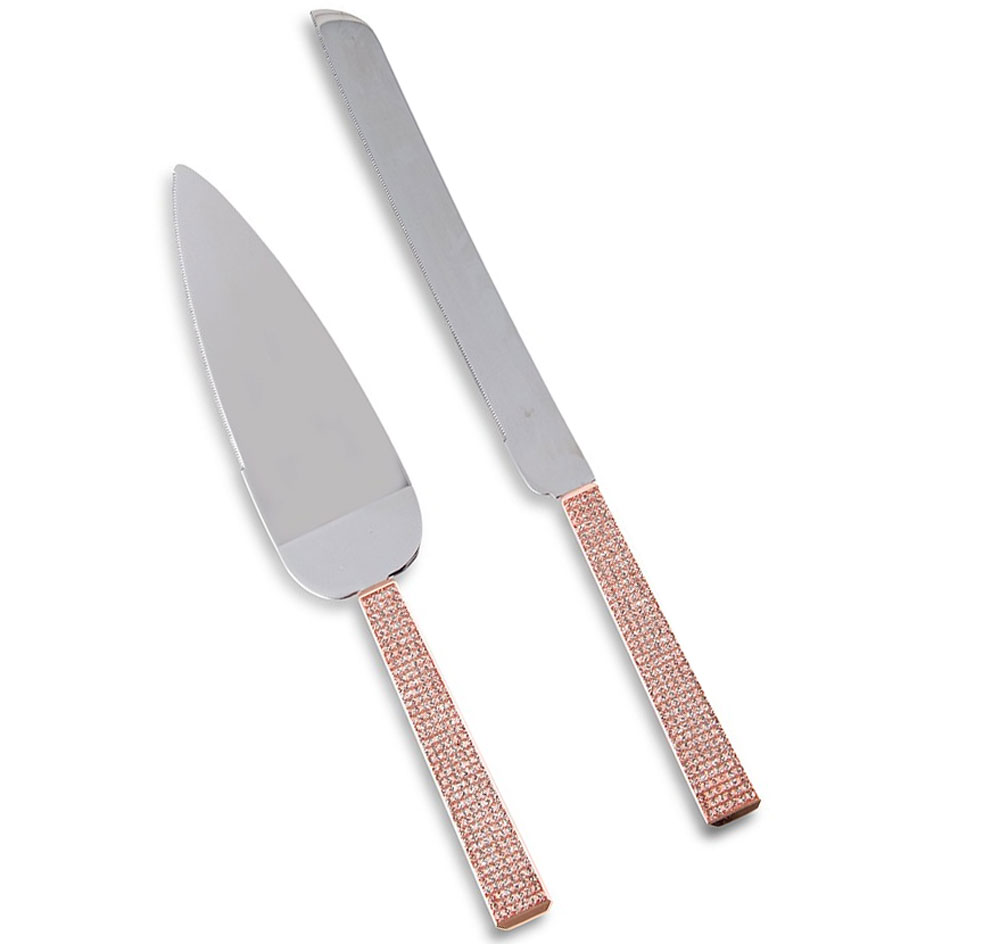 Rose Gold Diamond Glitter Cake Serving Set
