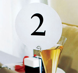Plain White and Black Round Wedding Table Numbers
