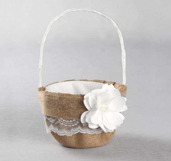 Rustic flower girl basket burlap flower girl basket rustic garden flower basket mightylinksfo