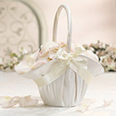 Satin Flower Girl Basket in Ivory