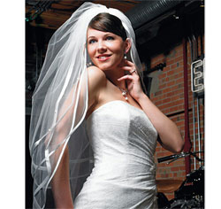 Double Border of Satin Ribbon and Pearls Wedding Bridal Veil in White
