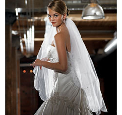 Scalloped Edge and Embroidery Wedding Bridal Veil in White