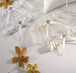 Scattered Pearls and Crystals White or Ivory Wedding Garter and Tossing Garter Set
