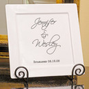 Scriptina Personalized Square Initial Wedding Signature Platter & Easel