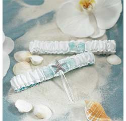 Seaside Allure White and Aqua Blue Wedding Garter and Tossing Garter Set with Starfish