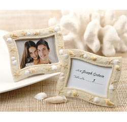 Seaside Sand and Sea Shell and Starfish Wedding Placecard Holders and Photo/Picture Frame Favors