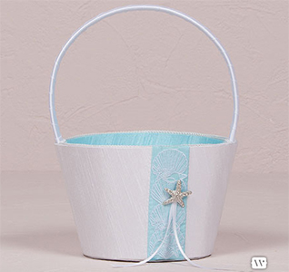 Seaside Allure White and Aqua Blue Wedding Flower Girl Basket with Starfish