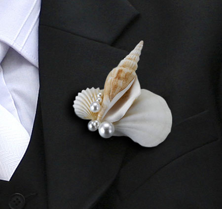 shell wedding boutonniere  wedding boutonnieres, Beautiful flower