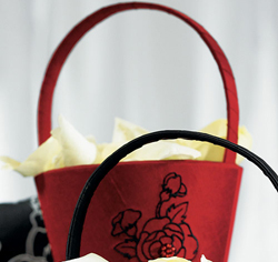 Red and Black Silhouettes in Bloom Flower Girl Basket