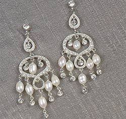 Silver Rhinestone & Pearl Chandelier Dangle Earrings