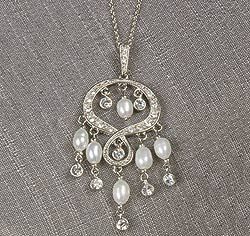 Silver Rhinestone & Pearl Chandelier Pendant Necklace on Gold Chain