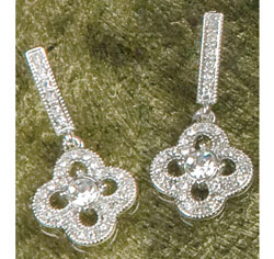 Silver Crystal/Rhinestones Clover Drop Dangle Earrings