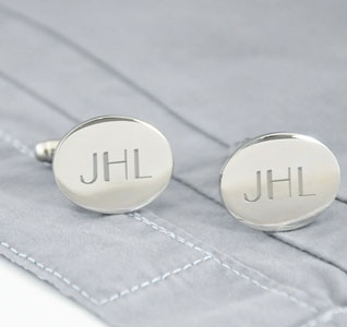 Personalized Wedding Grooms Silver Oval Cuff Links
