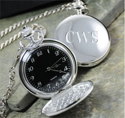 Personalized Groomsman Wedding Party Gift Black Face Silver-Plated Pocket Watch