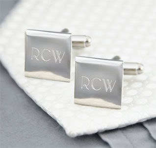 Personalized Wedding Silver Square Cufflinks