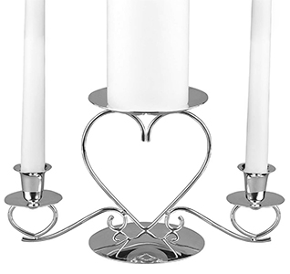 Silver Triple Heart Candle Holder