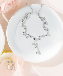 Cubic Zirconia on Silver Vine with Pear Drop Necklace