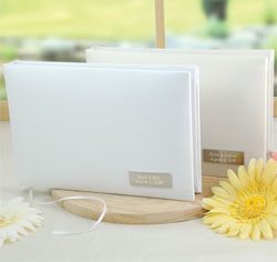 Simply Satin Personalized Wedding Guest Book in White and Ivory