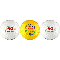 Sixty & Sensational Happy Birthday Gift Golf Balls- 60th
