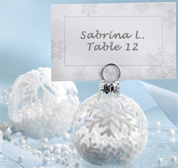Snow Flurry Flocked Glass Ornament Wedding Table Number/ Place Card/ Photo Holder