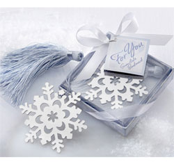 Snowflake Bookmark with Silver Finish Winter Wedding Favor